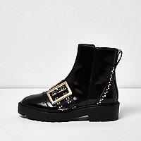 Black patent buckle stud boots