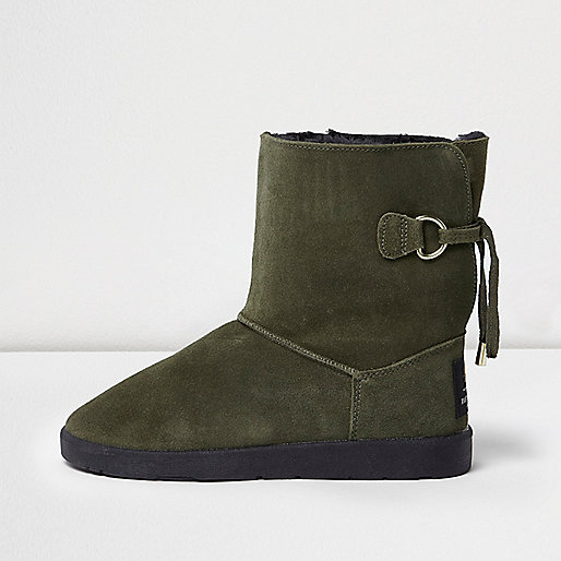 Khaki green suede faux fur trim soft boots