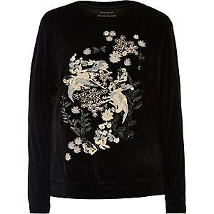 Black embroidered velvet sweatshirt
