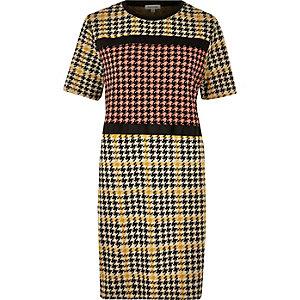 Yellow block houndstooth print dress