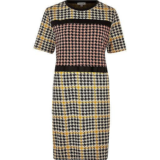 Yellow block dogtooth print dress
