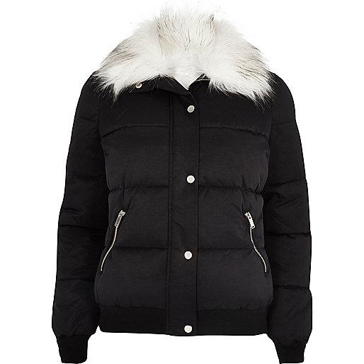 Black faux fur trim padded jacket