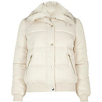 Cream faux fur trim padded jacket
