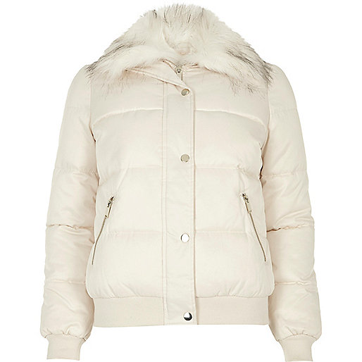 Cream faux fur trim puffer jacket