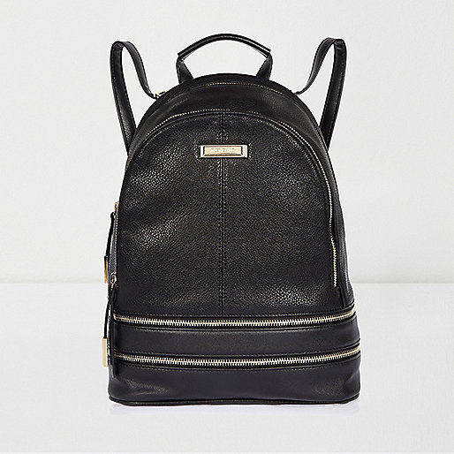 Black leather look zip backpack