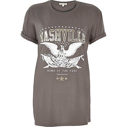 Grey 'Nashville' print rock T-shirt
