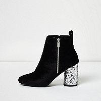 Black velvet glitter heel ankle boots