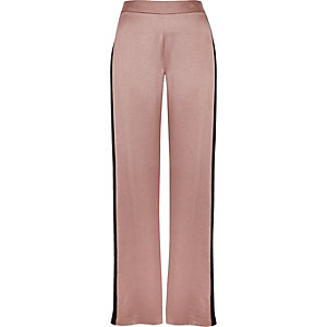 Pink side stripe soft straight leg pants