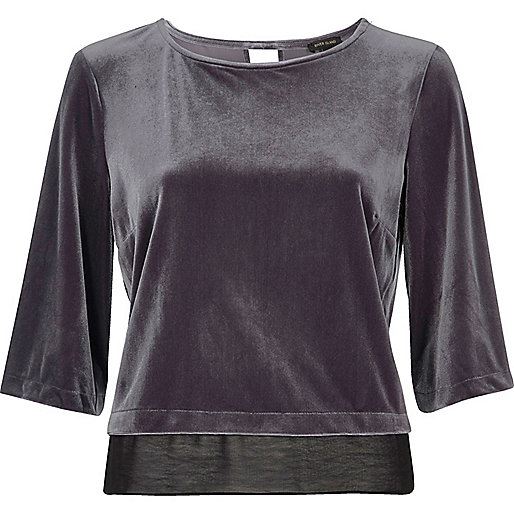 Grey velvet chiffon hem top