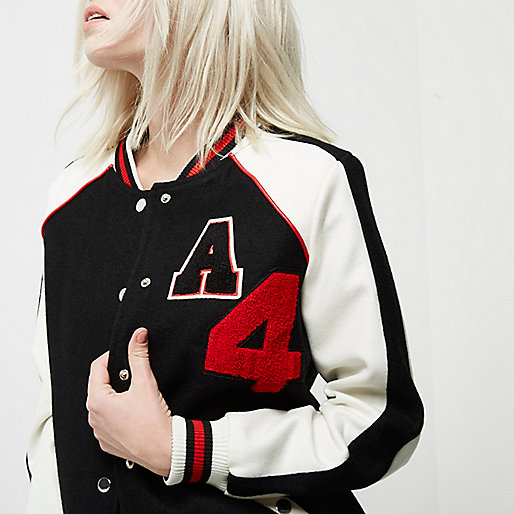 Petite black badge varsity bomber jacket