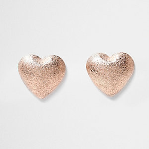 Rose gold sand blast heart earrings