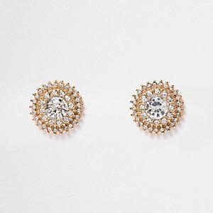 Gold tone crystal circle stud earrings