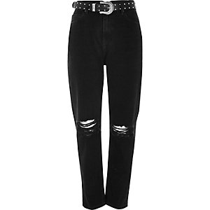 Black washed ripped Mom jeans