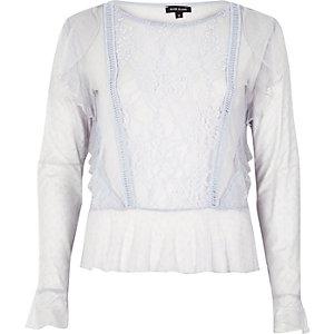 Light blue mesh lace top