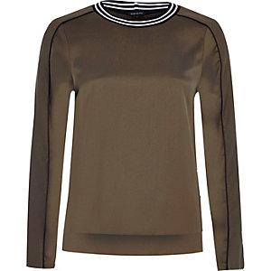 Khaki tipped sweatshirt