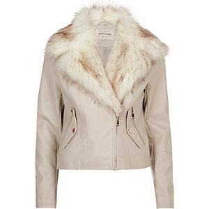 Cream faux fur trim biker jacket