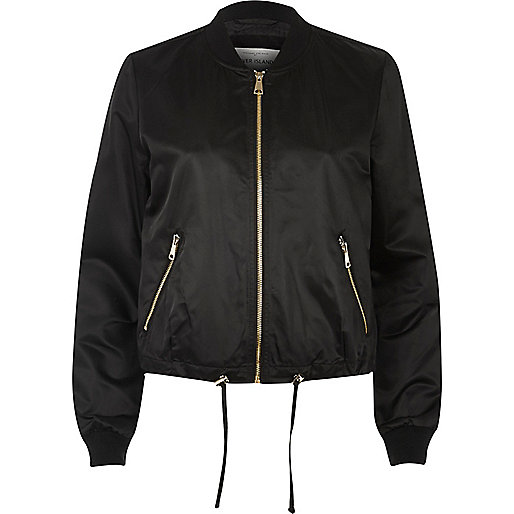 Black drawstring bomber jacket