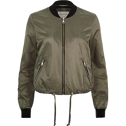 Khaki green drawstring bomber jacket