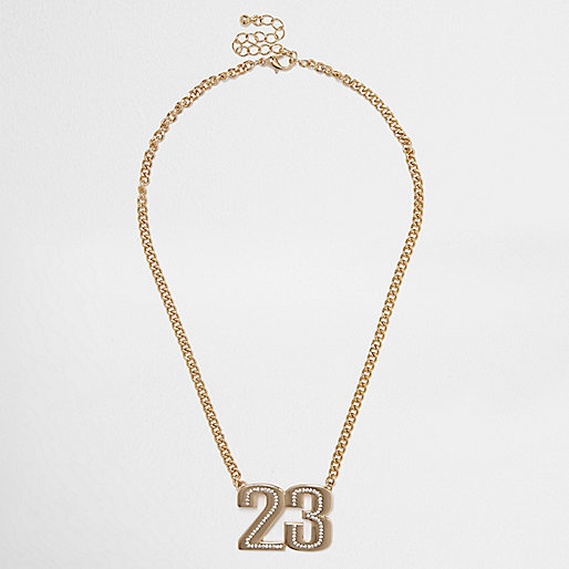 Gold tone '23' chain necklace