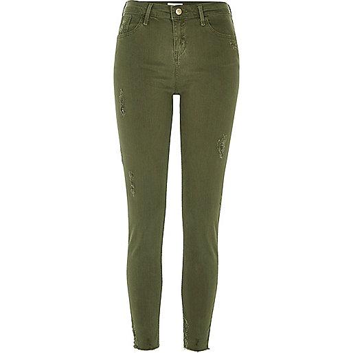 Khaki Amelie super skinny jeans