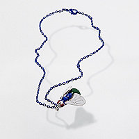 Blue Design Forum fly short chain necklace