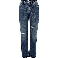Mittelblaue Mom-Jeans im Used-Look mit hohem Bund