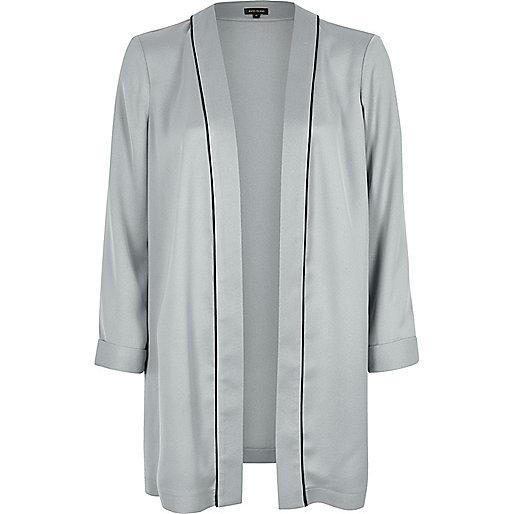 Grey silky open jacket