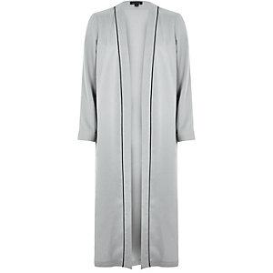 Grey longline duster coat