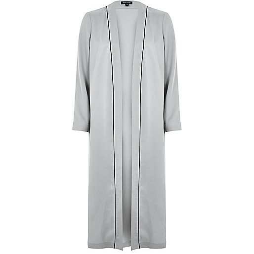 Grey longline duster coat