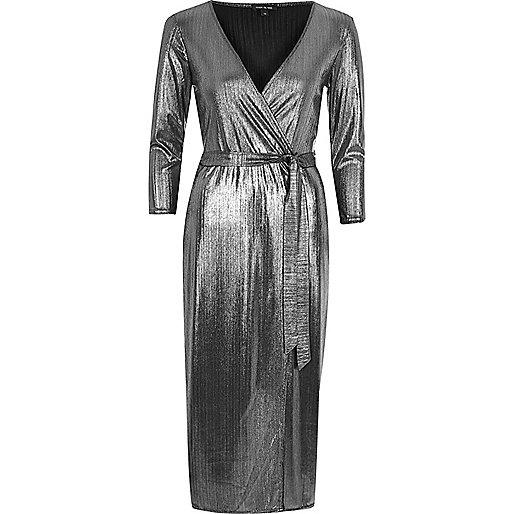 Silver plunge wrap dress