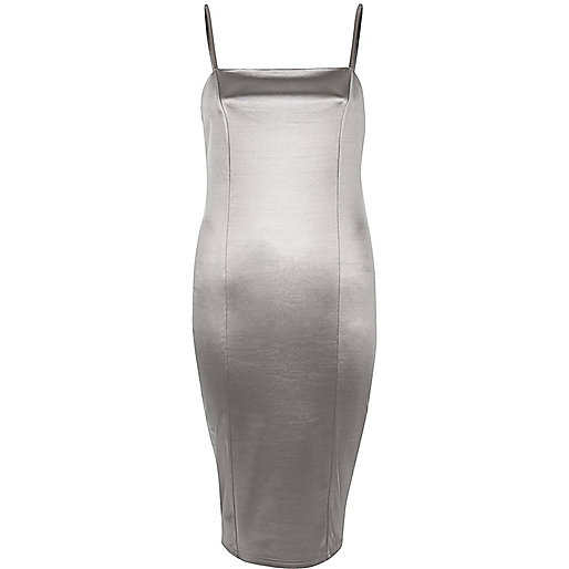 Silver strappy stretch bodycon dress