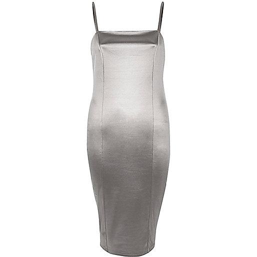 Silbernes, dehnbares Bodycon-Kleid