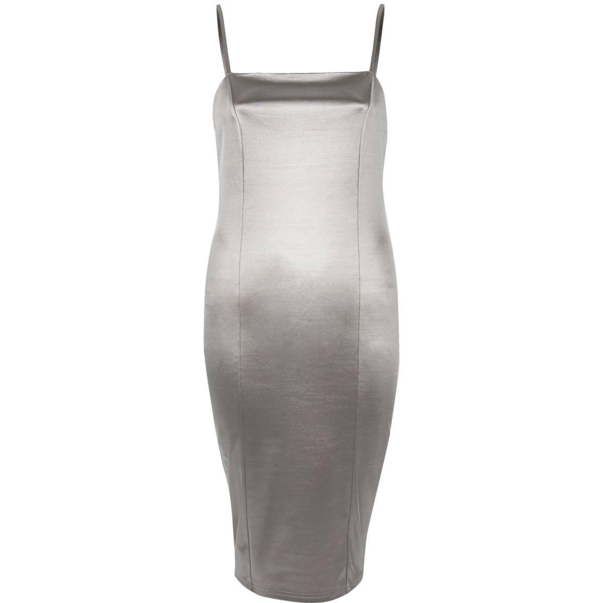 Silver strappy stretch bodycon dress