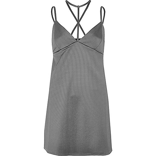 Grey T-bar strappy mini dress