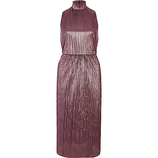 Pink turtleneck plisse midi dress