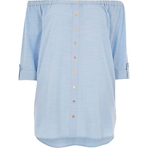 Blue bardot shirt