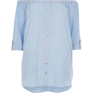 Blue bardot shirt
