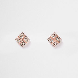 Rose gold tone diamond stud earrings