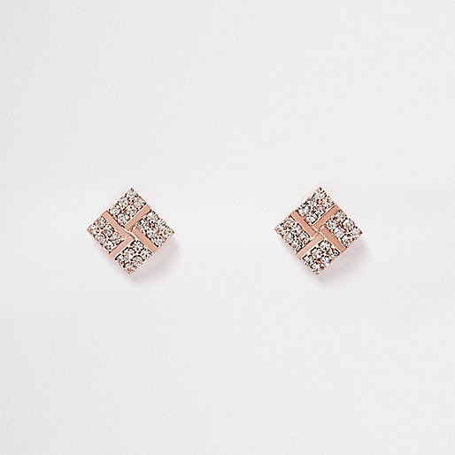 Clous d'oreilles doré rose motif losanges