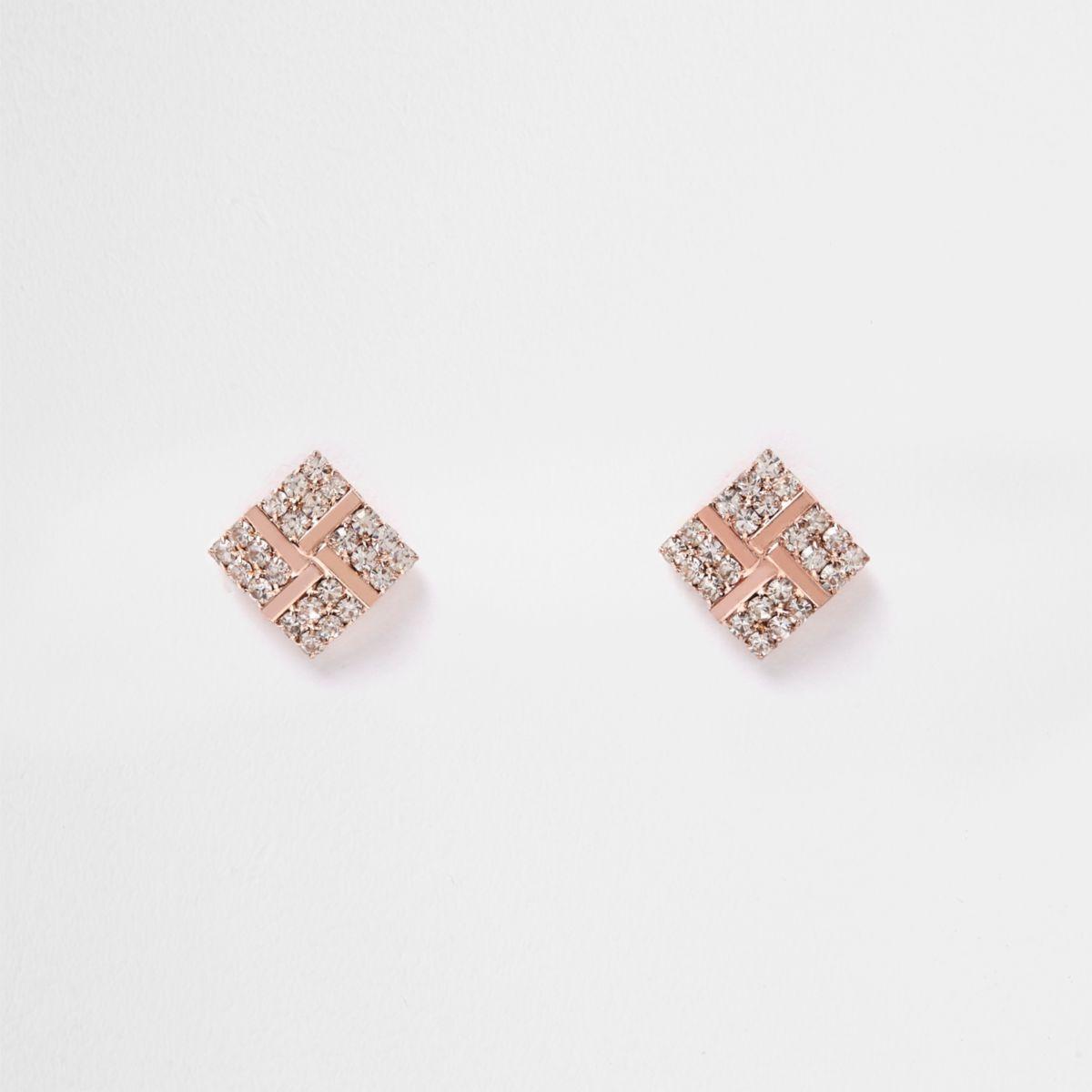 Rose gold tone diamante stud earrings