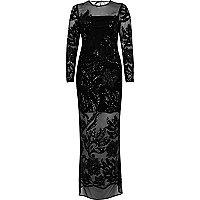 Zwarte maxi-jurk met kraaltjes en mesh