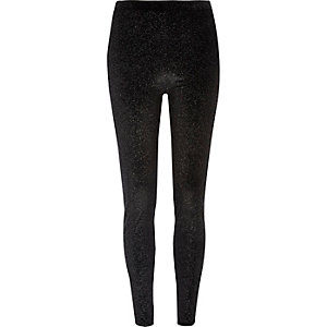 Black glitter velvet leggings