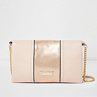 Nude soft foldover clutch bag