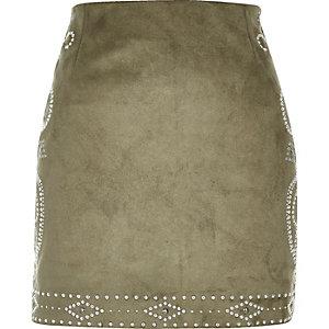 Khaki green stud mini skirt