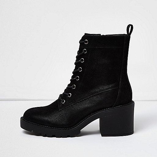 Zwarte grove laarzen met veters