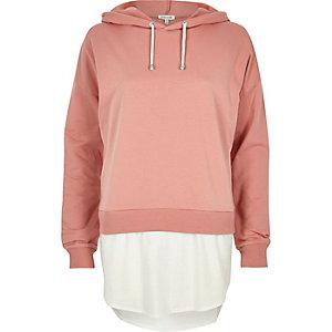 Pink contrast hem hoodie