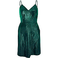 Green metallic wrap slip dress