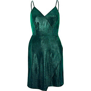 Green metallic wrap slip dress