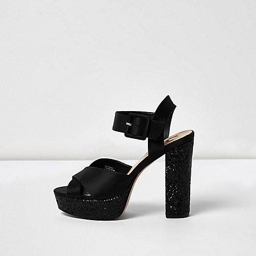Black glitter platform heel sandals