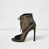 Brown velvet cut-out shoe boots